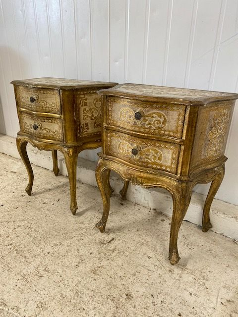 Odd Pair of Vintage  Italian Bedside Cabinets - Lamp Tables - hc38
